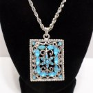 """Womens Necklace Silver Tone Metal Chain with a Pendant with Blue Rhinestones 18"""""""
