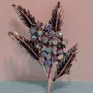Brooch Silver Tone Metal with Blue Aurora Borealis Rhinestones