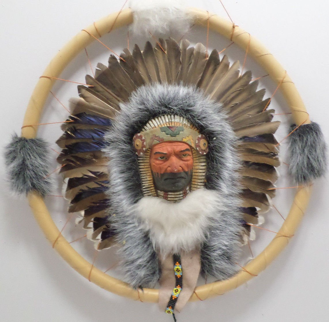 "Dream Catcher 3-D Indian Chief in the Center Beads and Feathers 16"" Diameter"