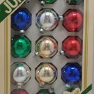 Christmas Ornaments 15 Glass Bulbs Assorted Colors Pyramid