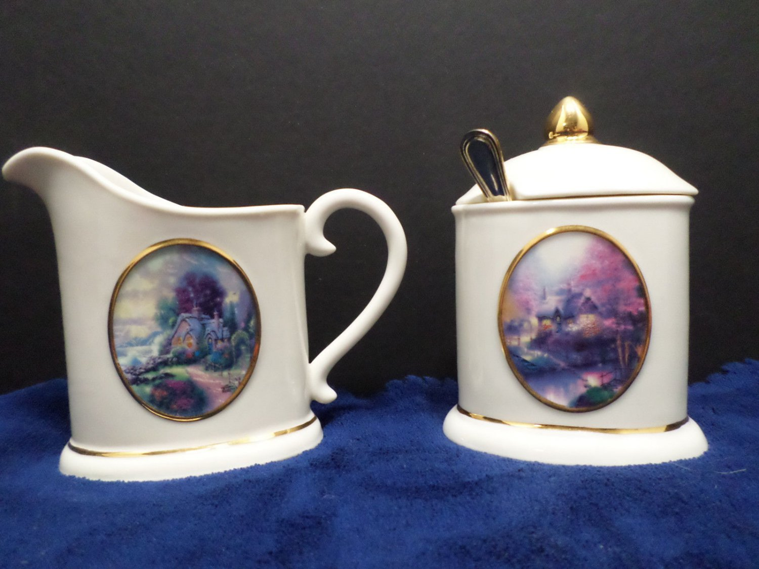 Sugar and Creamer Thomas Kinkade Porcelain Avon