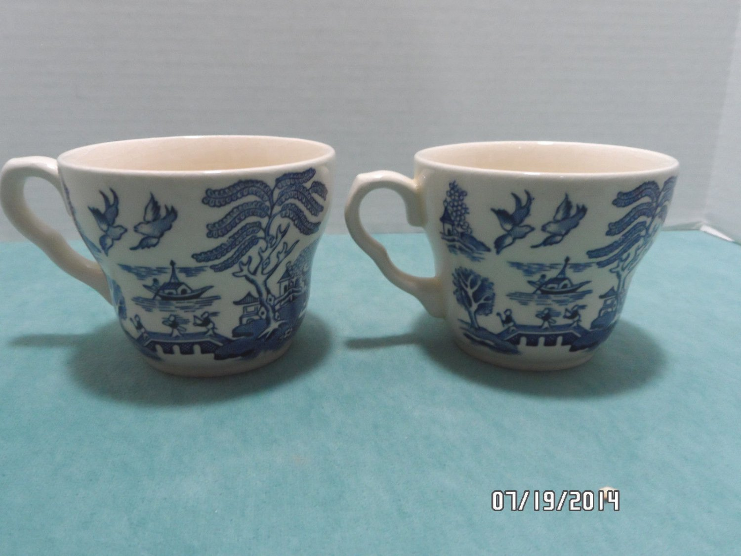 Blue Willow Tea Cups Made in England Blue and White Set of 2