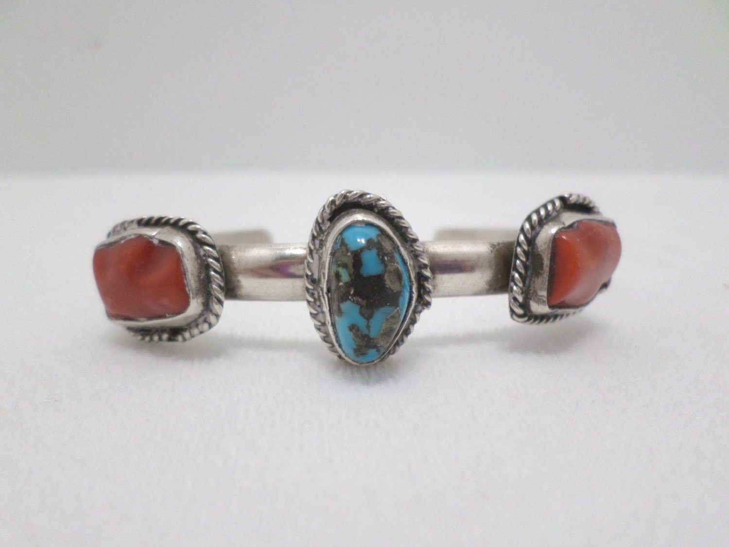 Cuff Bracelet Sterling Silver with Natural Red Coral and Turquoise Stones