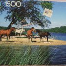 "Milton bradley York Puzzle 1500 pieces ""Horses by the lake"" 1990"