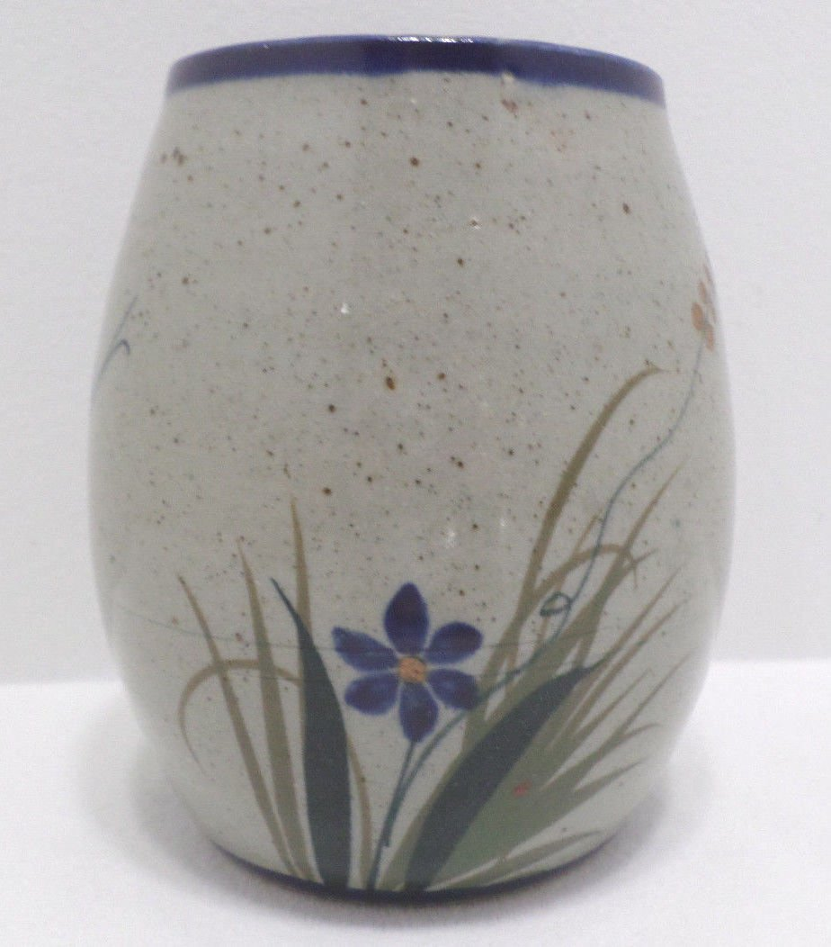 Flower Vase Mexican Pottery Butterfly Design Signed