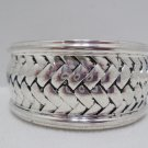 Bangle Bracelet Silver Plated Weave Design