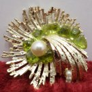 Brooch Gold Tone Metal with Faux Pearls and Green crystals