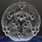 Bread and Butter Plates Clear Glass with Cherrys with Frosted Leaves Set of 5