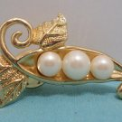Brooch or Lapel Pin Gold Tone Metal with Three Faux Pearls