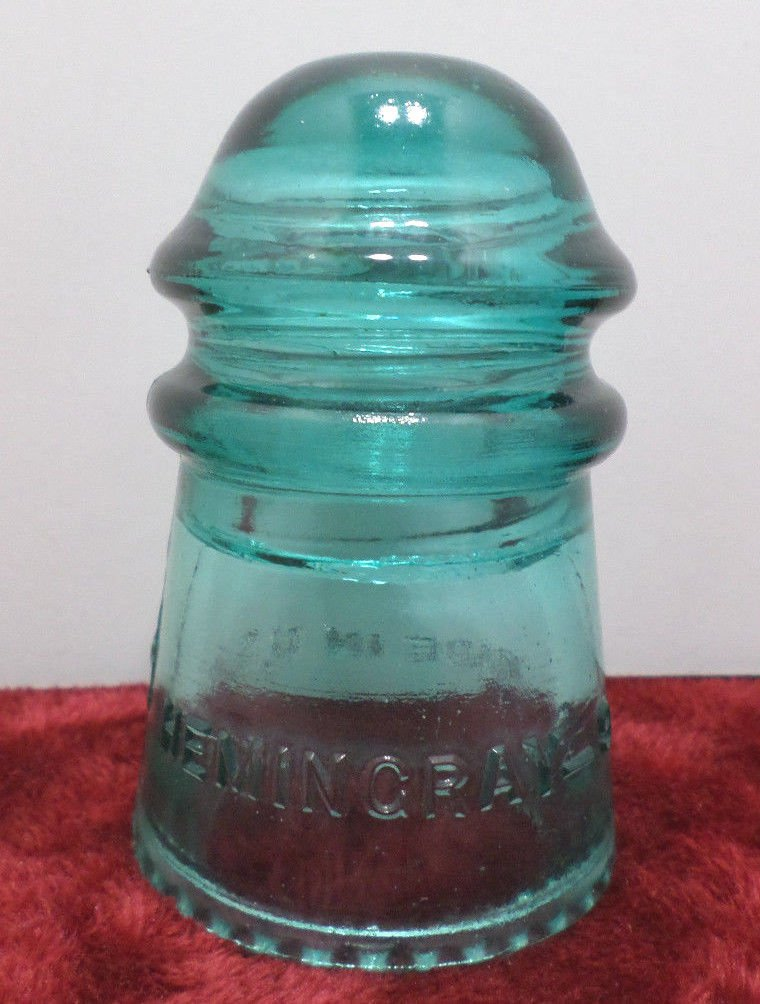 Antique Insulator Hemingray 9 Made in the USA Turquoise Glass
