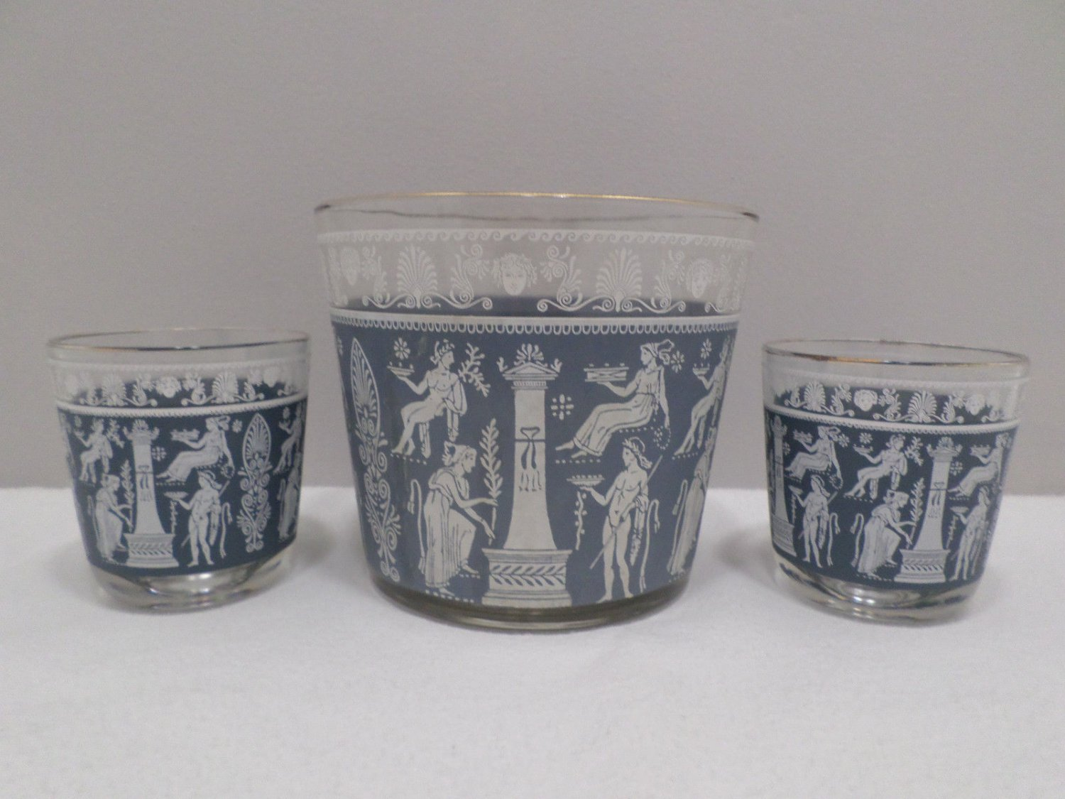 Vintage Ice Bucket with Two Glasses Blue and White Greek Jasperware Design