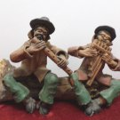 Asian Figurine Two Men Sitting on a log playing instruments Baked Clay