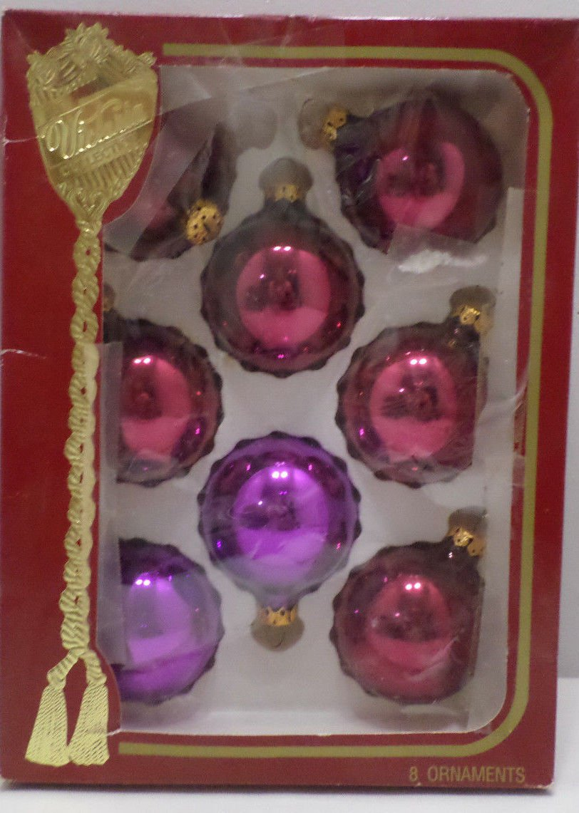 Christmas Tree Ornaments 8 Burgundy and Purple Glass Bulbs Victoria Collection