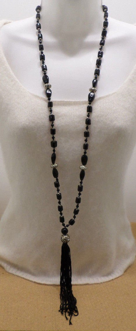 Fashion Necklace Black Glass Beads with Silver Tone Metal Spacers Black Tassel