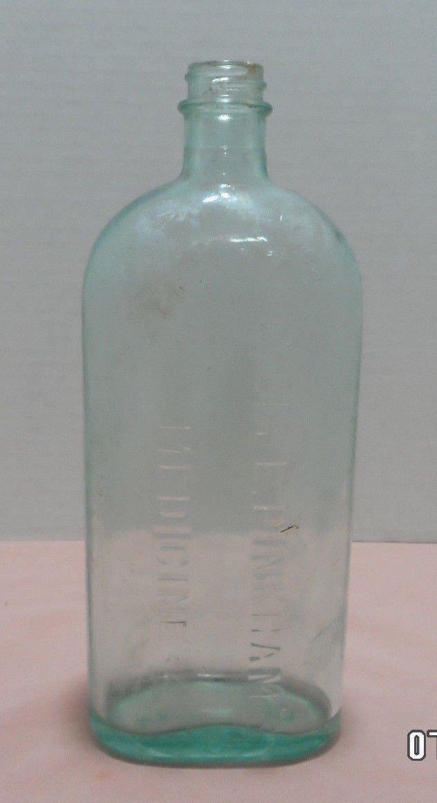 Medical Bottle Lydia E. Pinkhams Aqua Blue Glass Made in USA