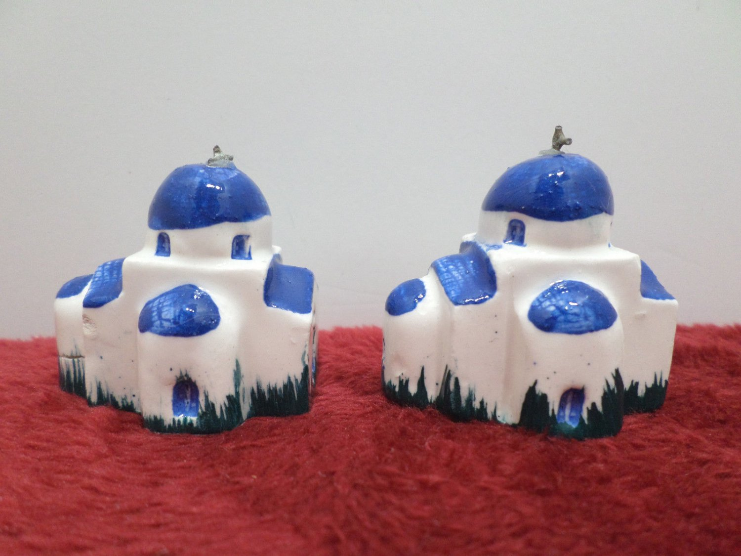 Two Mission Church Figurines Ceramic Blue and White Collectibles