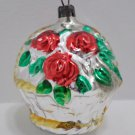 Antique Christmas Tree Ornament Mercury Glass Basket of Roses West Germany