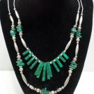 Vintage Necklace Silver Plated and Malachite Beads 2 Strands Tribal