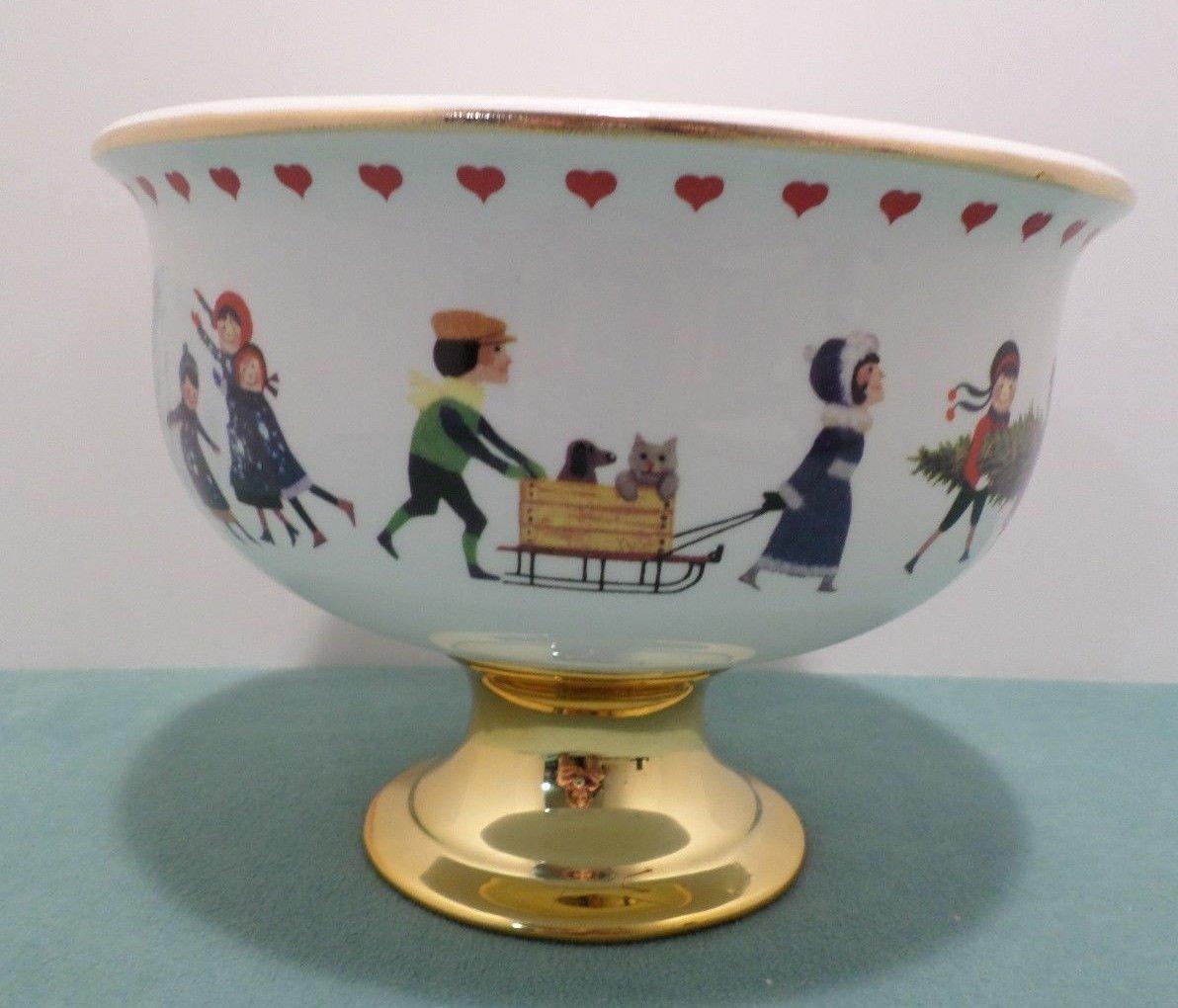 Christmas bowl on pedestal Porcelain by Charles Wysocki Teleflora Gift