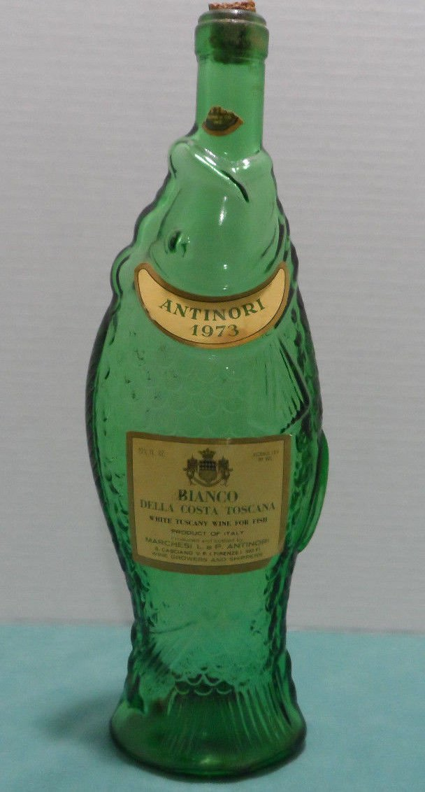 1973 Wine Bottle with Cork Green Glass by Marchesi Antinori made in Italy