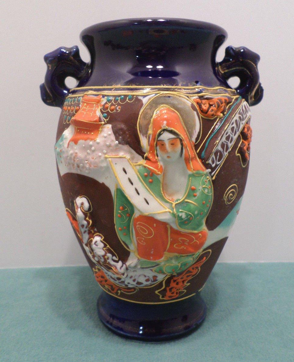 Flower Vase Satsuma Moriage Cobalt Blue Made in Japan
