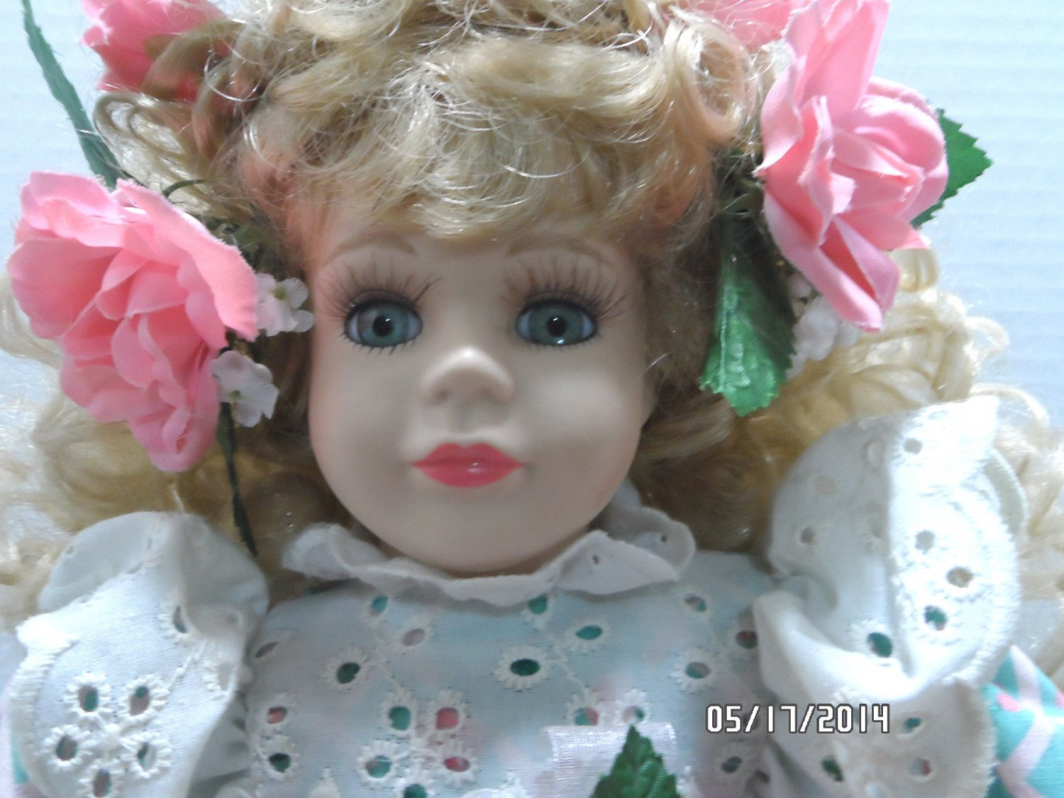 Porcelain Doll by The Brass Key Company Curly Blonde Hair with Pink Flowers