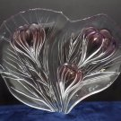 Serving Tray Platter Lazy Heart Clear Glass with Pink Flowers