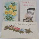 Antique Greeting Cards Victorian Style 3 pcs