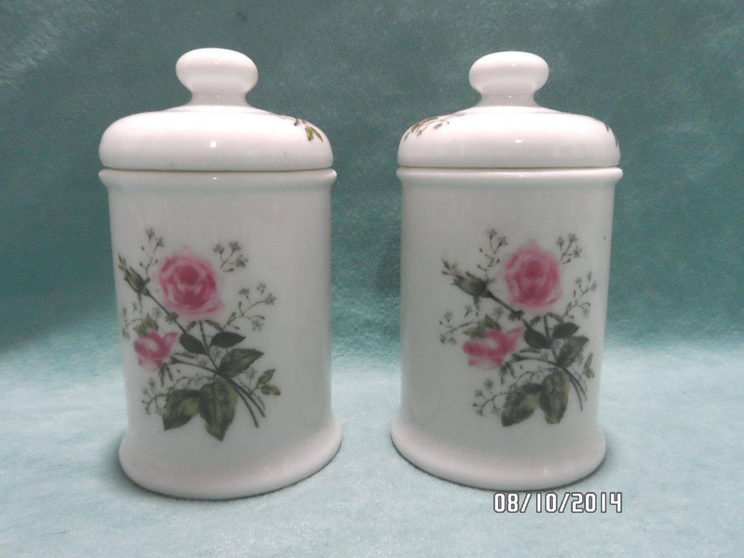 Vanity Dresser Jars with Lids White Porcelain Pink Roses by Lefton Japan