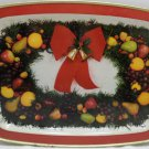 Metal Serving Tray Christmas Fruit Red Bow Vintage