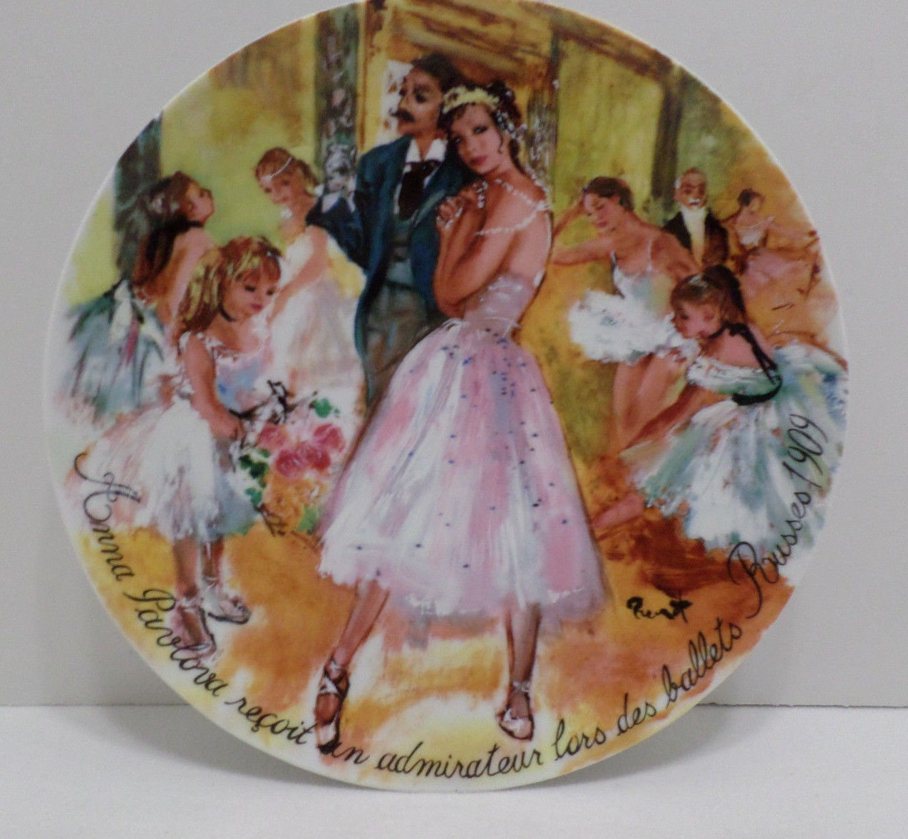 Collector Plate Anna Pavlova Greets an Admirer on the Ballets Resse's in 1909