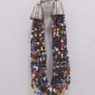 Beaded Bracelet 20 Strands of Seed Beads with a Silver Plated Closure