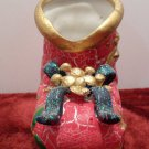 Christmas Figurine Boot with a Bow Table Top Decoration