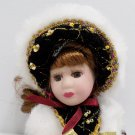 Christmas Porcelain Doll Dressed in Red velvet Dress with White Accents
