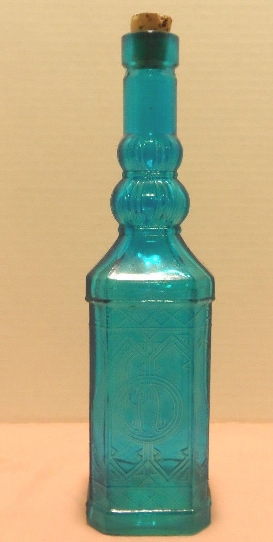 Vintage Liquor Decanter Bottle with Cork Blue Glass