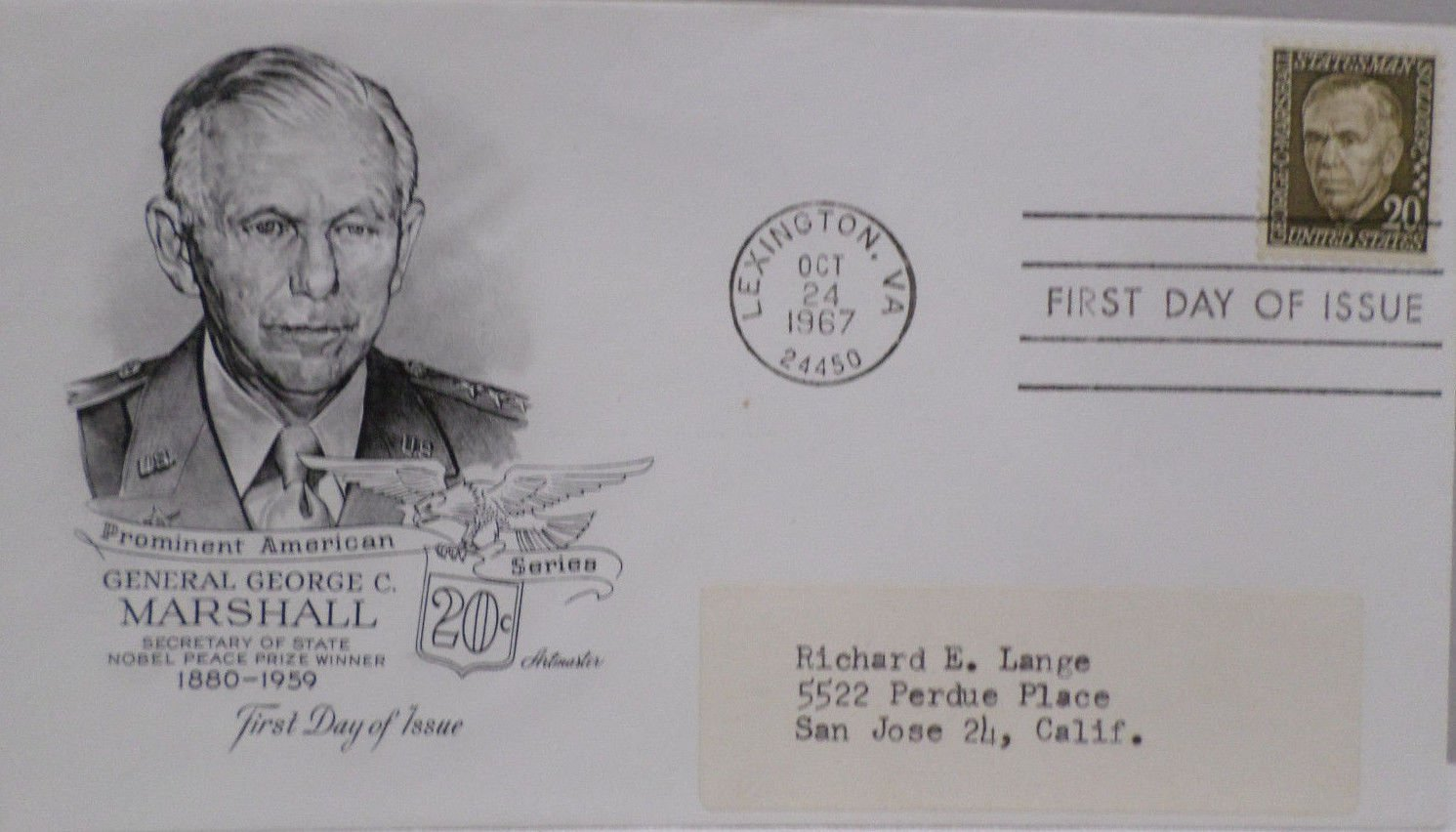 1967 First Day Cover Prominent American General George C. Marshall