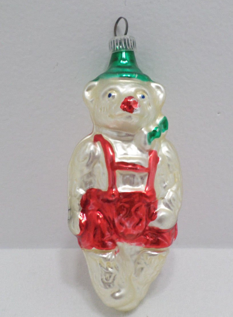 Antique Christmas Tree Ornament Mercury Glass Bear Made in West Germany