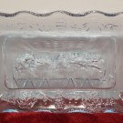 Last Supper Decoration Dish Blue Glass Vintage