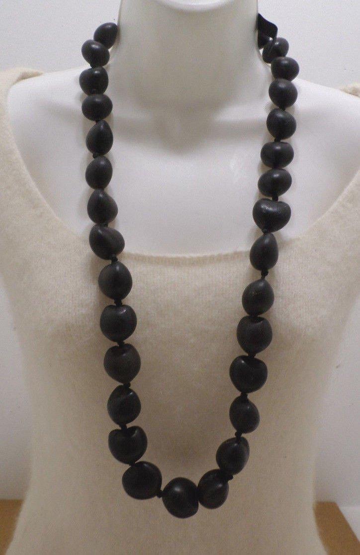Hawaiian Lei Necklace Dark Brown Kukui Nut Made in Hawaii