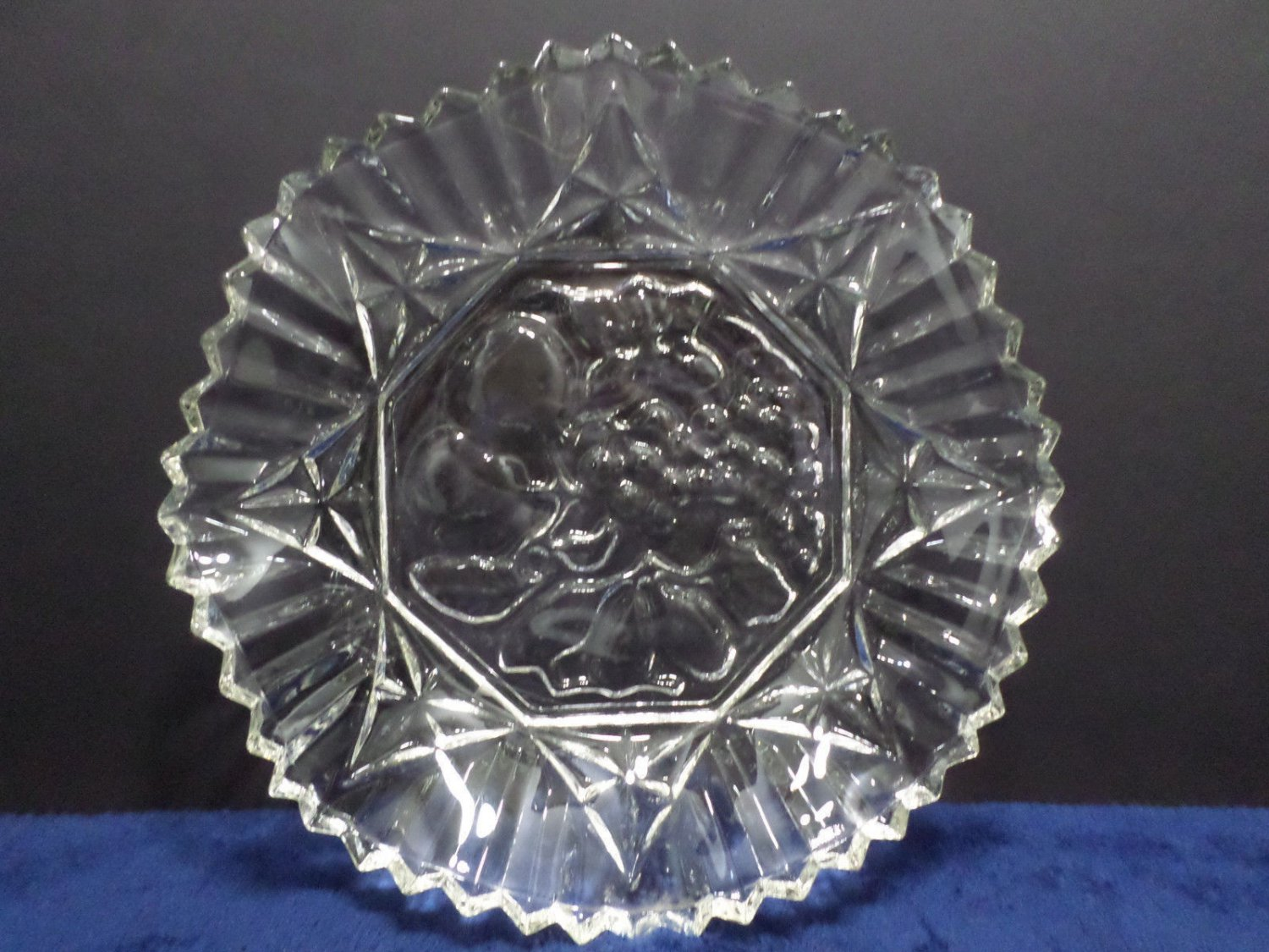 Vintage Fruit Bowl Clear Glass with a Ruffled Edge