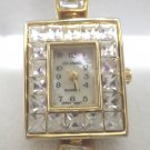 Da-Vanci Ladies Wristwatch Gold Tone Metal With Rhinestones