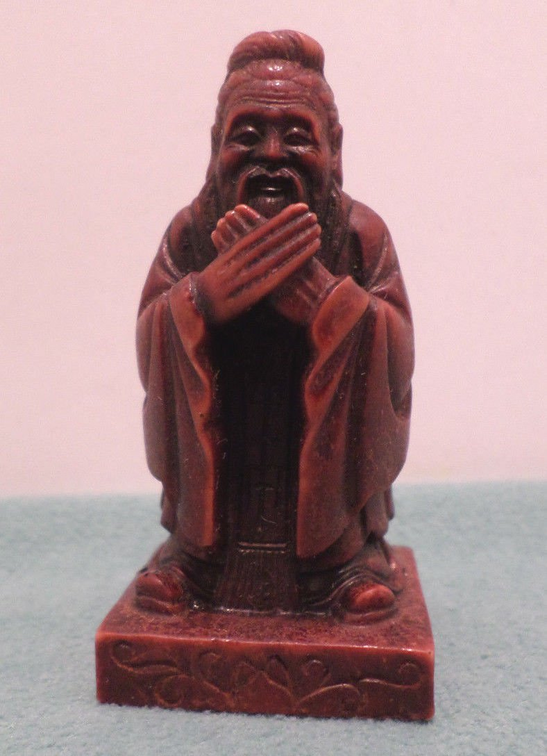 Chinese Man Statue Figurine Cinnabar Resin made in China