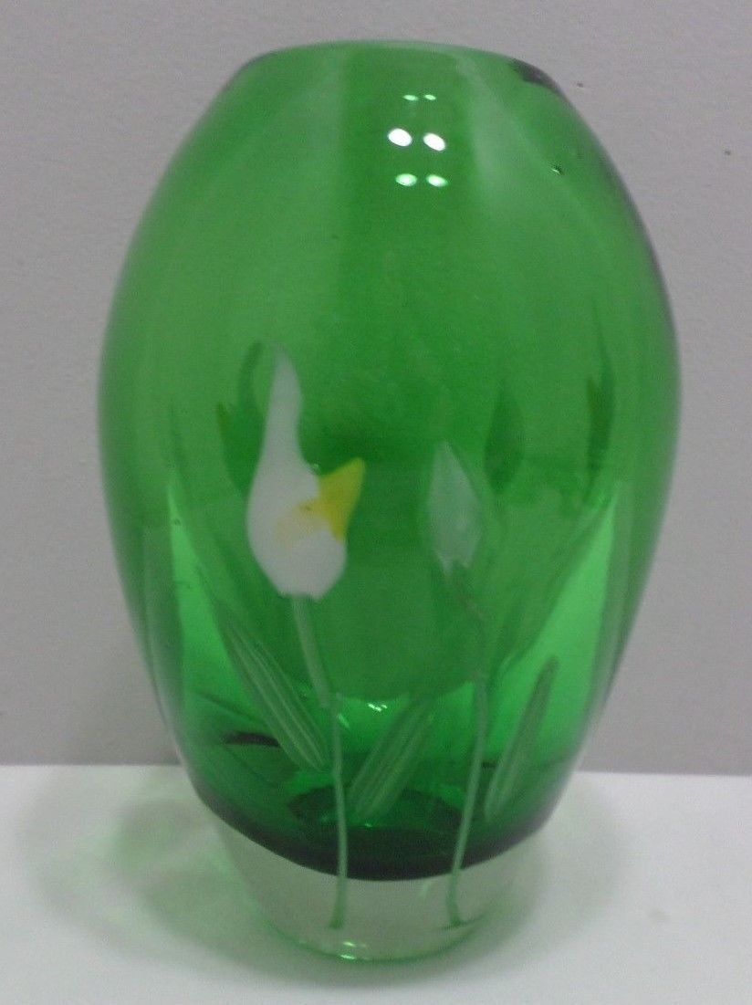 Vintage Flower Vase Heavy green glass with opalized white flowers Design