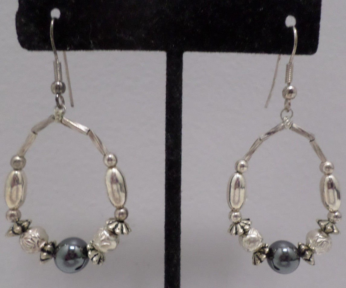 Pierced Earrings Silver Tone Metal Loops with Faux Pearls Shepard Hooks Vintage
