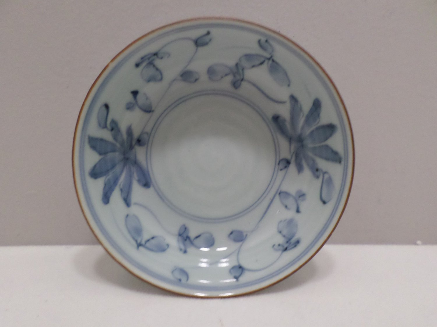 Vintage Asian Bowl Signed by Artist Blue and White Porcelain