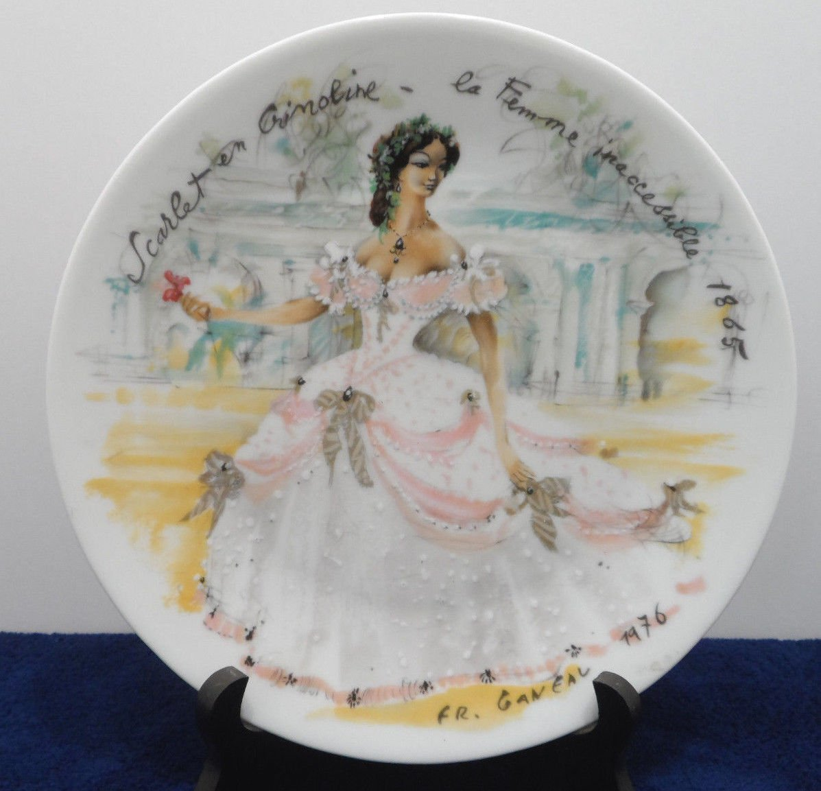 Collector Plate Scarlet en Crinolina La Femme by Inaccessable Limoges France