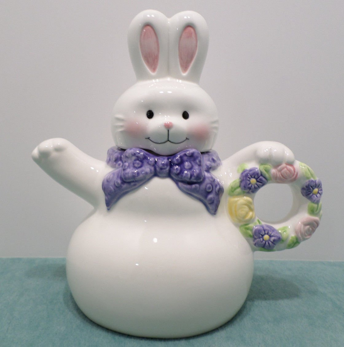 Hallmark Tea Pot Bunny Rabbit White Ceramic with Blue Ribbon