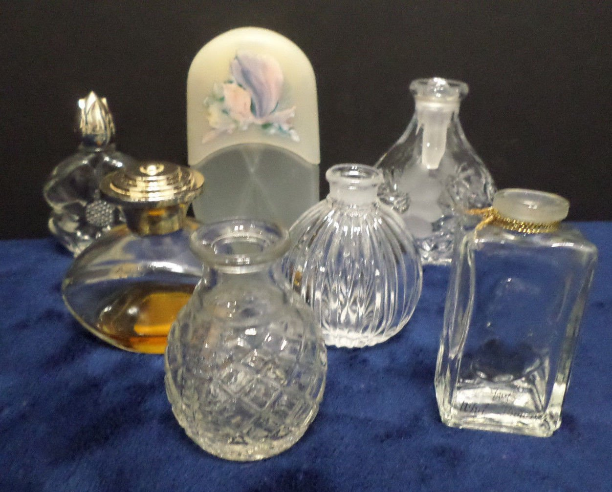 Perfume Bottles Vintage Miniature Clear Glass  7 pcs