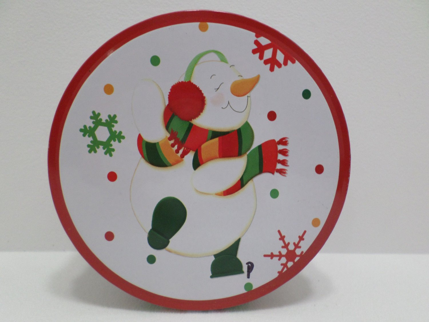Christmas tin snowman designed by Jan Shade Beach Lindy Bowman 2001