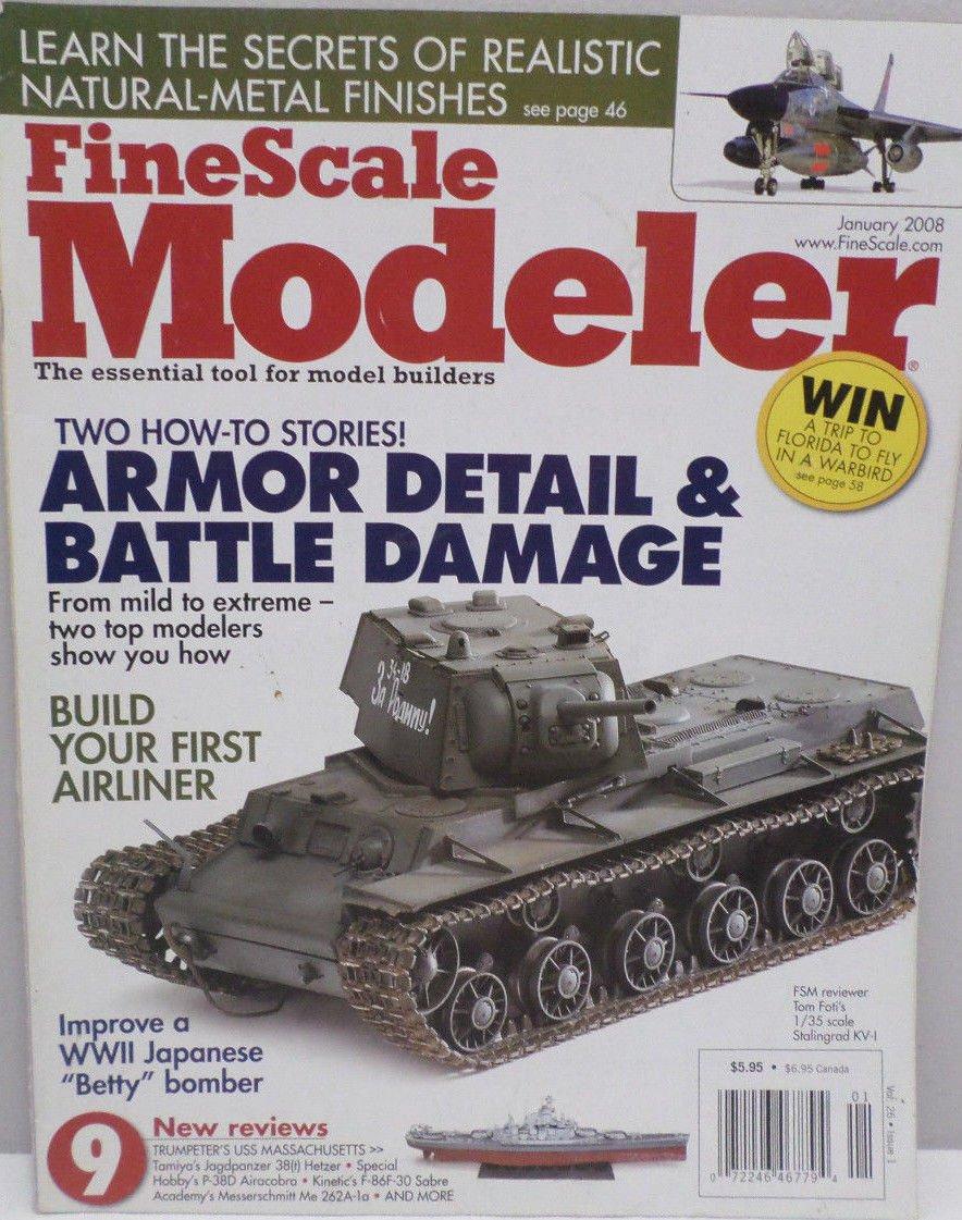 Fine Scale Modeler Magazine for Modeling Military Tanks Jan 2008